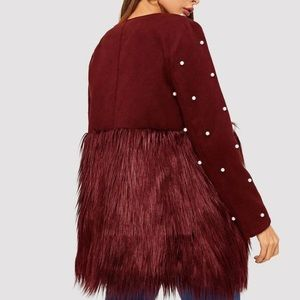 Open Front Pearl Beaded Faux Fur Jacket